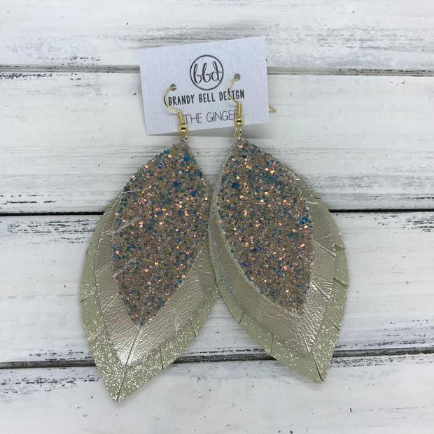GINGER - Leather Earrings  ||  <BR>  GLAMOUR GLITTER (NOT REAL LEATHER) <BR> METALLIC CHAMPAGNE SMOOTH <BR> SHIMMER GOLD
