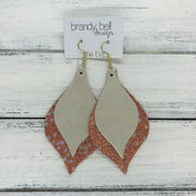 EVE - Leather Earrings  || <BR> CHAMPAGNE PEARL, <BR> ORANGE STINGRAY