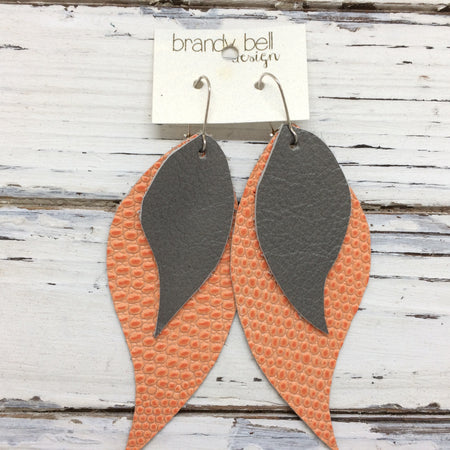CAMILLE - Leather Earrings  || OOAK (One of a Kind)  MATTE GRAY & CORAL TEXTURE