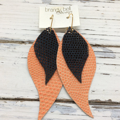 CAMILLE - Leather Earrings  || OOAK (One of a Kind)  DARK BROWN WITH METALLIC COPPER DOTS & CORAL TEXTURE