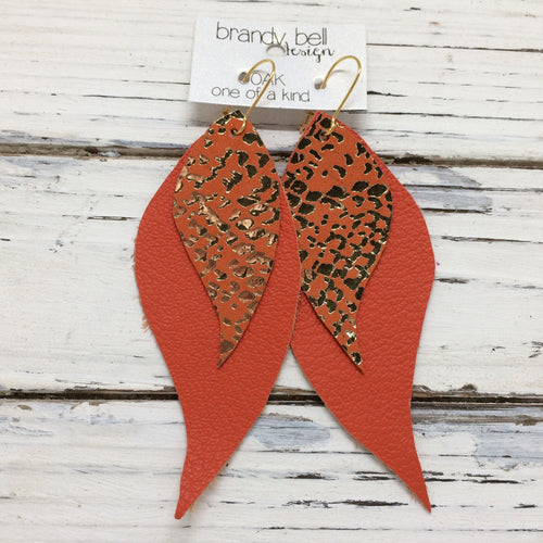 CAMILLE - Leather Earrings  || OOAK (One of a Kind)   ORANGE WITH METALLIC GOLD ACCENTS & MATTE ORANGE