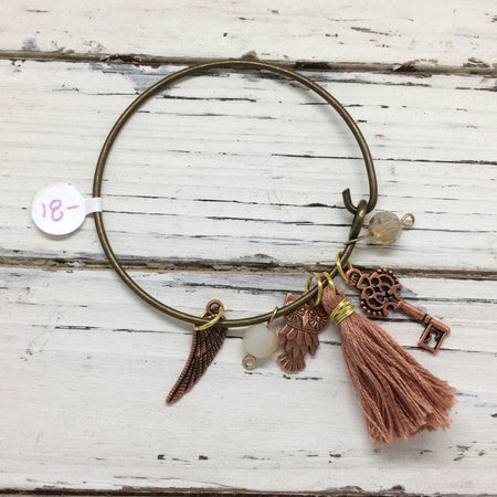 BANGLE BRACELET -  Mixed media bangle bracelet ||  OOAK (ONE OF A KIND) ROSE GOLD TASSEL, WITH ROSE GOLD OWL, WING & KEY CHARMS