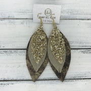 INDIA - Leather Earrings  ||   <BR> GOLD GLITTER (NOT REAL LEATHER), <BR> SHIMMER TAUPE, <BR> TIE DYE BROWN & TAN