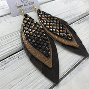 INDIA - Leather Earrings  ||   <BR> METALLIC COPPER ON BLACK MERMAID, <BR> SHIMMER COPPER ON TOAST, <BR> PEARLIZED BROWN
