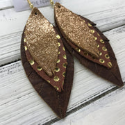 INDIA - Leather Earrings  ||   <BR> SHIMMER COPPER ON TOAST, <BR> BROWN WITH METALLIC GOLD POLKADOTS, <BR> DISTRESSED  BROWN