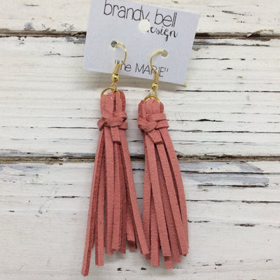 MARIE - Faux Suede Tassel Earrings  || DUSTY ROSE