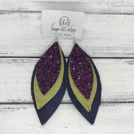 INDIA - Leather Earrings  ||   <BR> MULBERRY GLITTER (NOT REAL LEATHER), <BR> PEARLIZED OCHRE, <BR> MATTE NAVY BLUE