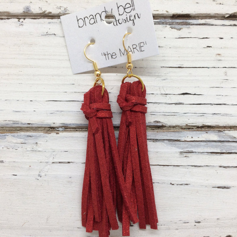 MARIE - Faux Suede Tassel Earrings  || SPARKLE RED