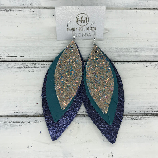 INDIA - Leather Earrings  ||   <BR> GLAMOUR GLITTER (NOT REAL LEATHER), <BR> MATTE DARK TEAL, <BR>  METALLIC NAVY PEBBLED