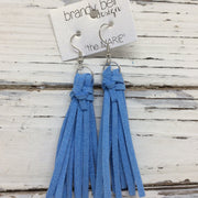 MARIE - Faux Suede Tassel Earrings  || CORNFLOWER / CAROLINA BLUE