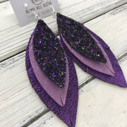 INDIA - Leather Earrings  ||   <BR> WICKED WITCH GLITTER (NOT REAL LEATHER), <BR> SHIMMER LAVENDER, <BR>  METALLIC PURPLE PEBBLED