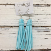 MARIE - Faux Suede Tassel Earrings  || BABY BLUE