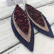 INDIA - Leather Earrings  ||   <BR> BURGUNDY GLITTER (NOT REAL LEATHER), <BR> SHIMMER VINTAGE PINK, <BR>  METALLIC NAVY PEBBLED