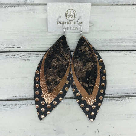 INDIA - Leather Earrings  ||   <BR> ROSE GOLD ON BLACK NORTHERN LIGHTS, <BR> METALLIC COPPER SMOOTH, <BR>  BLACK WITH METALLIC ROSE GOLD POLKADOTS