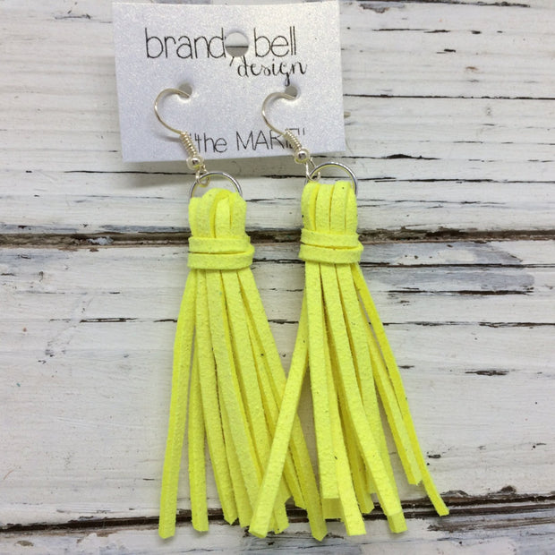 MARIE - Faux Suede Tassel Earrings  || NEON YELLOW