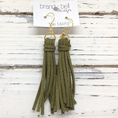 MARIE - Faux Suede Tassel Earrings  || OLIVE GREEN