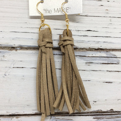 MARIE - Faux Suede Tassel Earrings  ||  SHIMMER GOLD