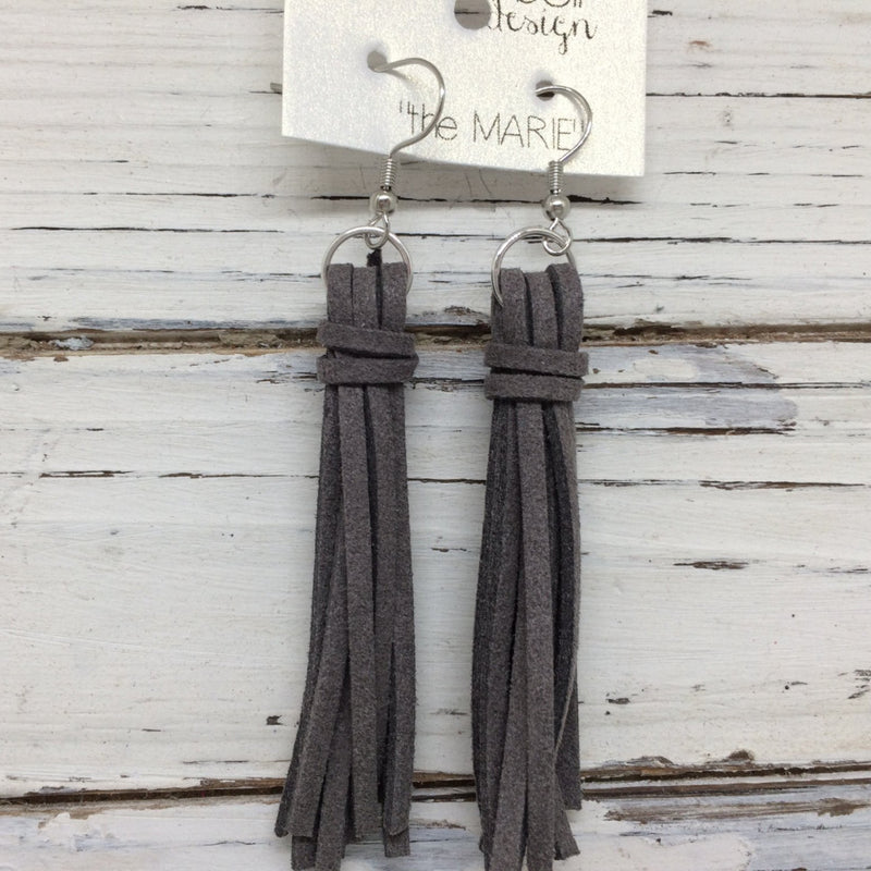 MARIE - Faux Suede Tassel Earrings  ||  DARK GRAY