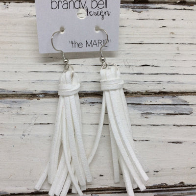 MARIE - Faux Suede Tassel Earrings  || WHITE