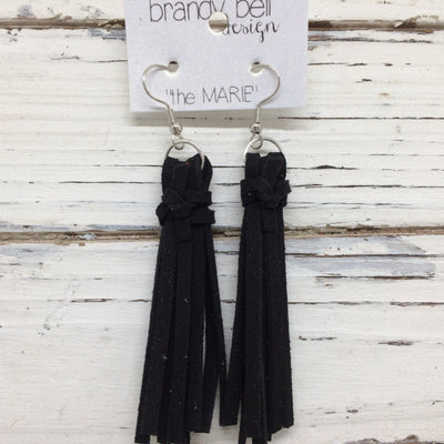 MARIE - Faux Suede Tassel Earrings  ||  BLACK