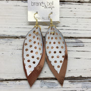 ALLIE -  Leather Earrings  || METALLIC ROSE GOLD POLKADOTS ON MATTE WHITE, METALLIC COPPER