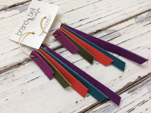 AUDREY - Leather Earrings  || Fuchsia, Olive, Orange, Dark Teal, Dark Purple