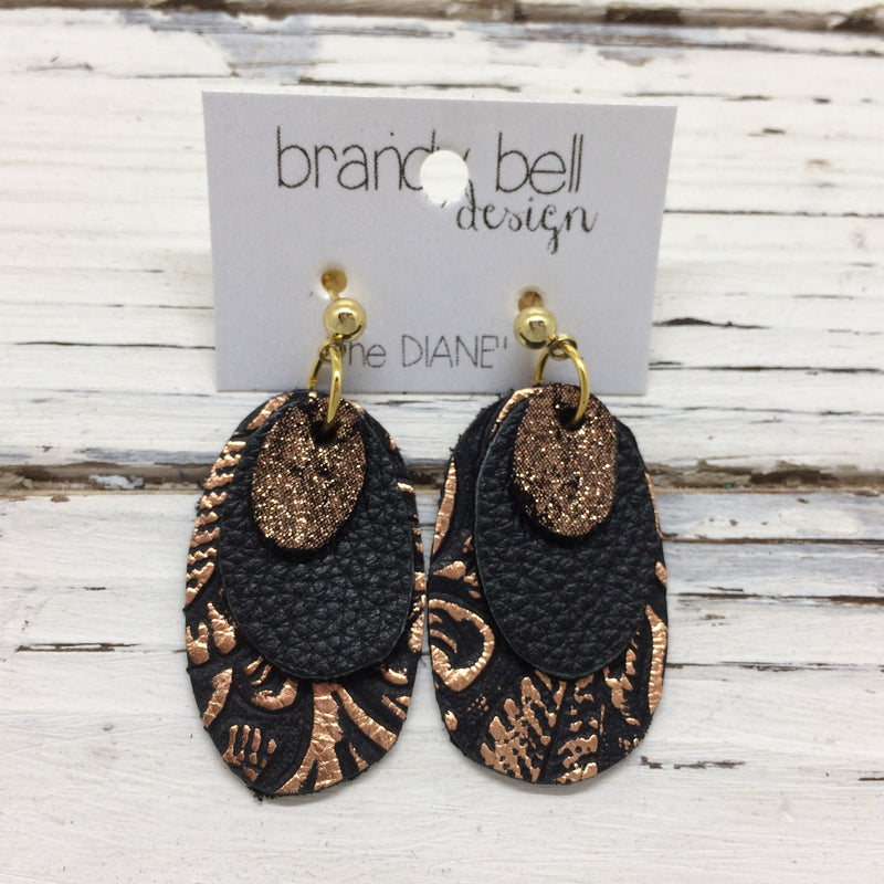DIANE - Leather Earrings  || metallic crackle copper, matte black, metallic copper floral on black