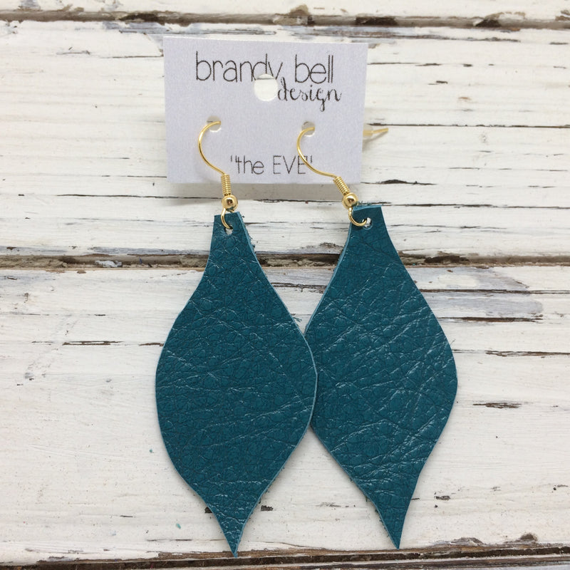 MAE - Leather Earrings  || DARK TEAL
