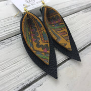 ALLIE -  Leather Earrings  ||  <BR> NAVAJO PRINT, <BR> MATTE BLACK