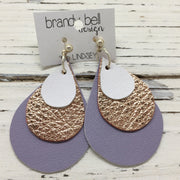 LINDSEY - Leather Earrings  || MATTE WHITE, METALLIC ROSE GOLD, MATTE LAVENDER