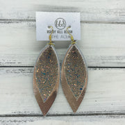 ALLIE -  Leather Earrings  ||  <BR> GLAMOUR GLITTER (NOT REAL LEATHER), <BR> METALLIC ROSE GOLD SMOOTH