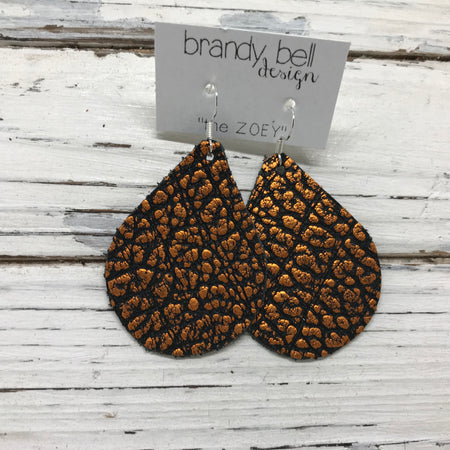miniZOEY + ZOEY -  Leather Earrings  || METALLIC ORANGE & BLACK BISON