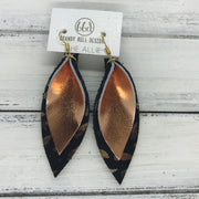 ALLIE -  Leather Earrings  ||  <BR> METALLIC COPPER SMOOTH, <BR> METALLIC TEAR DROPS ON BLACK