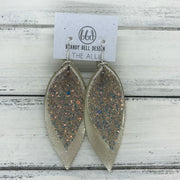 ALLIE -  Leather Earrings  ||  <BR> GLAMOUR GLITTER (NOT REAL LEATHER), <BR> METALLIC CHAMPAGNE SMOOTH
