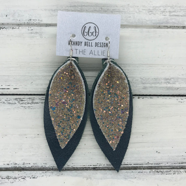 ALLIE -  Leather Earrings  ||  <BR> GLAMOUR GLITTER (NOT REAL LEATHER), <BR> MATTE DARK TEAL