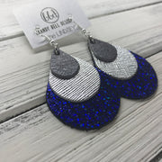 LINDSEY - Leather Earrings  ||  <BR> PEARLIZED GRAY, <BR> METALLIC SILVER SAFFIANO, <BR> METALLIC COBALT BLUE CRACKLE