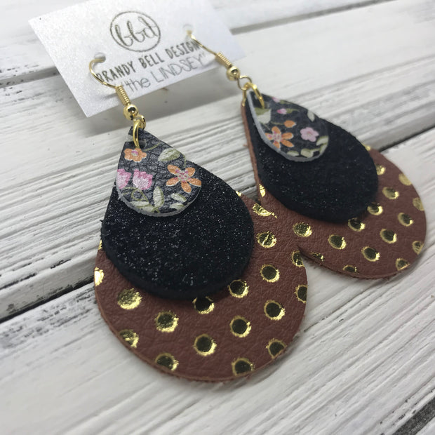 LINDSEY - Leather Earrings  ||  <BR> MINI FLORAL ON BLACK, <BR> SHIMMER BLACK, <BR> BROWN WITH METALLIC GOLD POLKADOTS