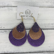 LINDSEY - Leather Earrings  ||  <BR> WICKED WITCH GLITTER (NOT REAL LEATHER), <BR> METALLIC COPPER SMOOTH, <BR> METALLIC PURPLE PEBBLED