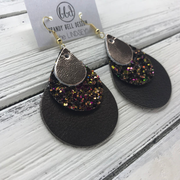 LINDSEY - Leather Earrings  ||  <BR> METALLIC ROSE GOLD SMOOTH, <BR> AUTUMN HARVEST GLITTER (NOT REAL LEATHER), <BR> MATTE OLIVE GREEN
