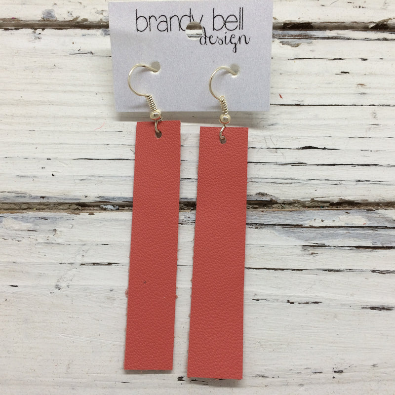 FINN - Leather Earrings  || MATTE SALMON