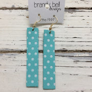 FINN - Leather Earrings  || AQUA WITH WHITE POLKADOTS