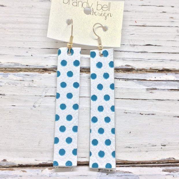 FINN - Leather Earrings  ||  MATTE WHITE WITH TEAL POLKADOTS