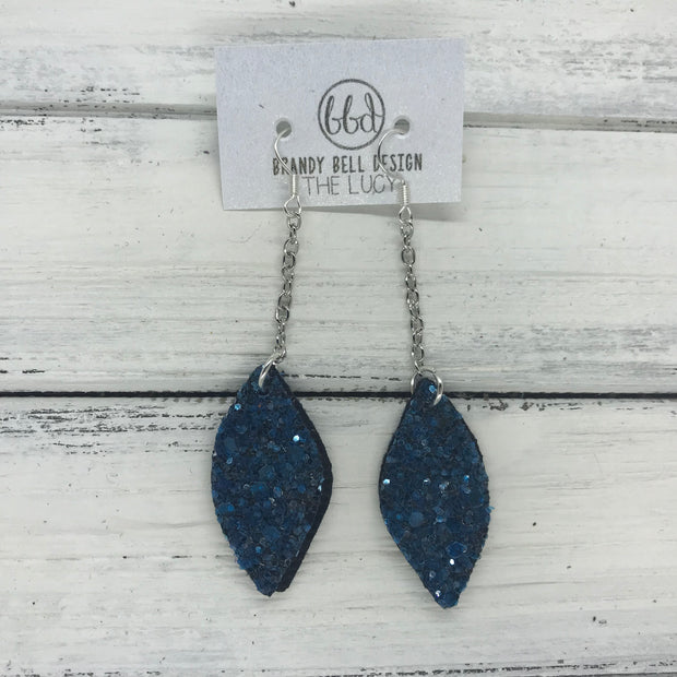 LUCY -  Leather Earrings  ||    DOUBLE SIDED- DARK TEAL GLITTER (NOT REAL LEATHER)