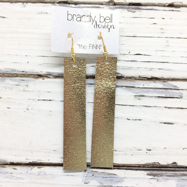 FINN - Leather Earrings  || METALLIC GOLD