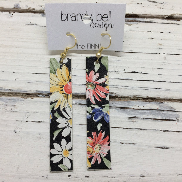 FINN - Leather Earrings  ||  BLACK FLORAL