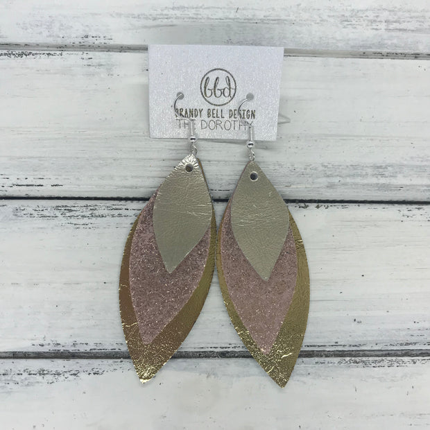 DOROTHY - Leather Earrings  ||  <BR> METALLIC CHAMPAGNE, <BR> SHIMMER VINTAGE PINK <BR> METALLIC GOLD SMOOTH