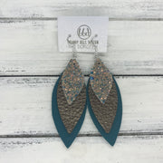 DOROTHY - Leather Earrings  ||  <BR> GLAMOUR GLITTER (NOT REAL LEATHER), <BR> METALLIC PEBBLE <BR> MATTE DARK TEAL