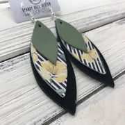 DOROTHY - Leather Earrings  ||  <BR> AVOCADO GREEN, <BR> STRIPE WITH YELLOW FLORAL, <BR> SHIMMER BLACK