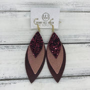DOROTHY - Leather Earrings  ||  <BR> BURGUNDY GLITTER (NOT REAL LEATHER), <BR> SHIMMER VINTAGE PINK, <BR> DISTRESSED MERLOT