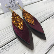 DOROTHY - Leather Earrings  ||  <BR> ORANGE GLITTER (NOT REAL LEATHER), <BR> METALLIC CRANBERRY, <BR> PEARLIZED BROWN